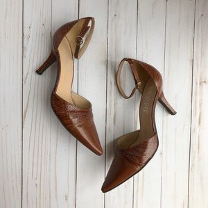 Franco Sarto Ankle Strap Kitten Heel Snake Print